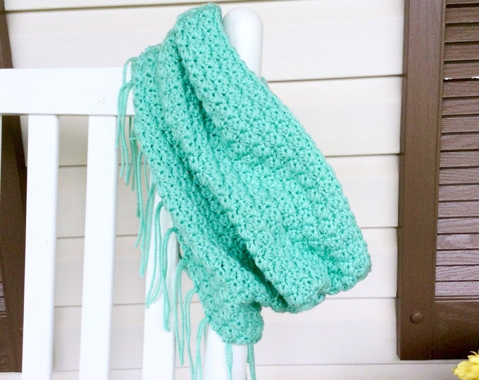 Mint Green Crochet Cowl with Fringe, Winter Scarf for Women and Teens