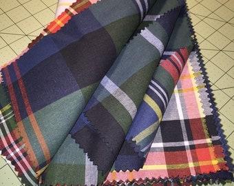 "Plaid Fat Quarter FQ Fabric Fabrics Set of 4 Quilt 26"" x 26"" 100% Cotton"