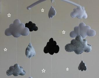 Musical cloud mobile grey baby cloud mobile grey white dark grey nurserymobile