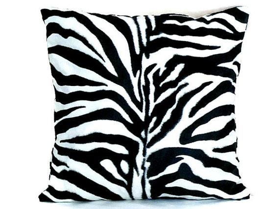 Zebra velvet throw pillow cover 18x18 16x16 White black luxe