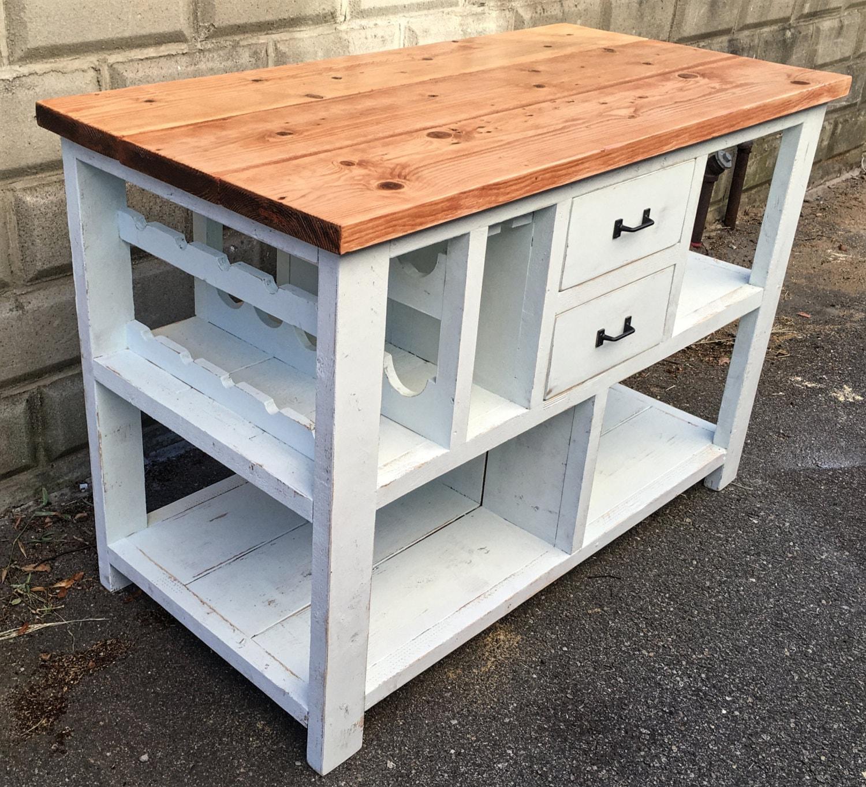 Rustic shabby chic farmhouse kitchen island w wine rack for Shabby chic farmhouse
