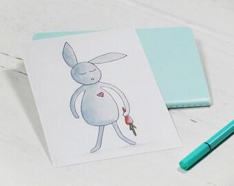 Postcard bunny. Illustration. Greeting card. Birthday card. Kids.