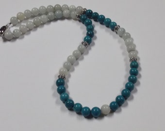 "Natural Amazonite and Turquoise Gemstone Necklace-19"""