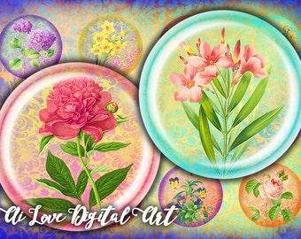Victorian Flowers printable downloads, digital collage sheet circle 1.5 inch, 30mm 1 inch bottle cap images, vintage ephemera jewelry making