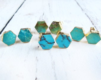 Turquoise Stud Earrings-Gift for Her-Earrings Gift Girlfriend-Turquoise Earrings-Gift For Her Earrings-18K Gold Plated-Turquoise Jewelry