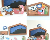 Cedar Wood Nativity Puzzle - Hand Painted Simple Elegance