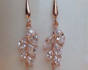 Stunning rose gold plated crystal bunched dangle earrings