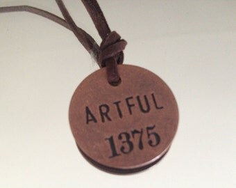 Leather strap choker necklace/bracelet with ARTFUL miner's tag #1375. This charm necklace can be a bracelet or choker with ARTFUL charm