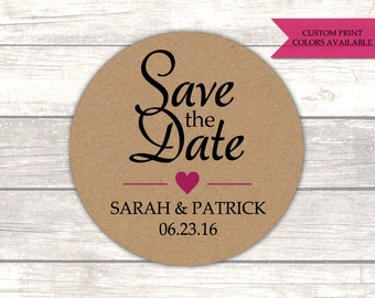 Save the date stickers (30) - Save the date envelope seals - Wedding envelope seals - Rustic wedding stickers - Kraft stickers (RK007)