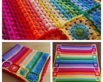 Rainbow baby blanket crochet granny stripe blanket, baby blanket, afghan. Size 35 x 35 inches