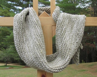 Hand Knit Wool and Silk Scarf