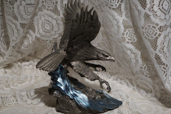 1990 Franklin Mint Solid Pewter Eagle by Artist Paul Brunelle Sovereign Of The Northern Sky