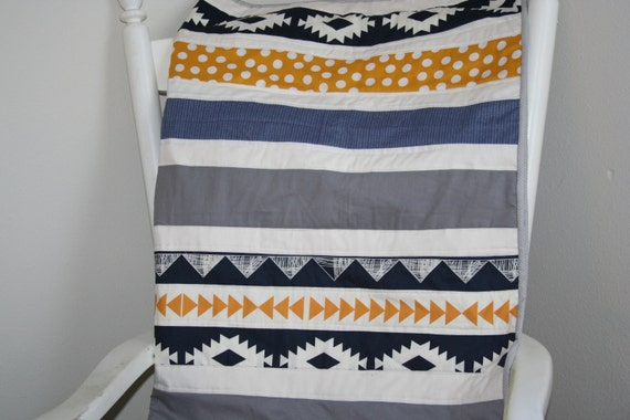baby quilt baby blanket mustard and navy gold and navybaby