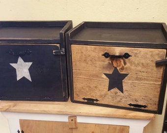 Primitive Wood Bread Box Breadbox Black w/ Shelf Handmade Choose Color- Star or No Star Distressed Rustic Black Kitchen