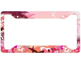 beach license plate frame surfer car tag frame beach license plate holder ocean palm trees beach chairs license plate frame 30 700