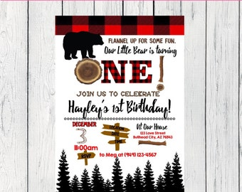 Little Bear Flannel First Birthday or Any Age: Personalized birthday invitation- ***Digital File*** (One-Bear)
