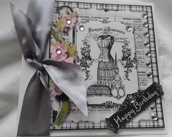 Vintage Seamstress Dressmaker Design Birthday Card Handmade