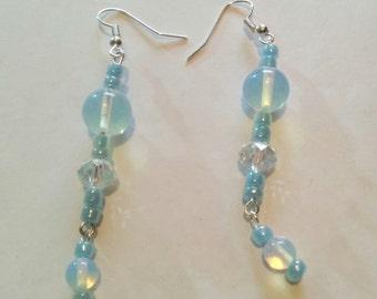 Handmade dange earrings with moonstones and crystals