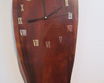 Redwood Burl clock with second hand