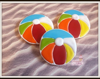Beach ball Decorated Sugar Cookies  -1 dozen