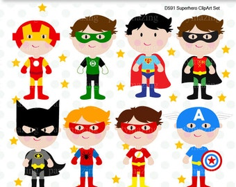 Superhero Clipart Set, Batman, Robin, Flash, Captain America, Superman, Green Lantern, Clip Art Graphic, Instant Download -D591