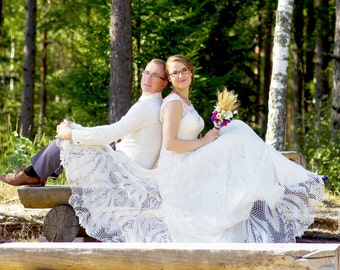 Knitted wedding dress / Bridal gown / Cotton-viscose blend / Full A-line skirt / Irish lace details
