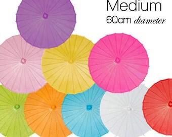 Medium 60cm - Set of 5 Color Paper Parasols / Paper Umbrella - DIY Wedding Accesories, Party Decor, Bridal Props