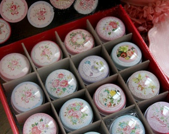 Set 48 Assorted Mini Collectible Round Tins - Vintage Floral Flower - Lip Balm Case, Gift Packaging, Candy, Jewelry, Wedding Favors