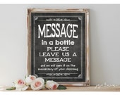 Instant 'MESSAGE in a BOTTLE Please leave us a message' Printable Event Sign Wedding Choose Anniversary Chalkboard Size Options