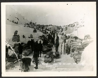 1970s print of 1898 Glass Plate Negative, Chilkoot Pass, Gold Rush Miners in Alaska