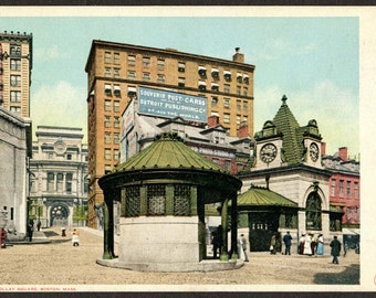 1908 Railroad Station, Scollay Square, MBTA Station, Postcard Advertising, Photo Studio, Boston