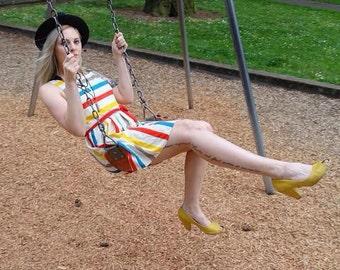 Vintage Primary Color Stripe Dress