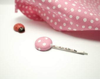"Hair pin | Cotton fermacapellli hair clip with button ""PINK POLKA DOT"""
