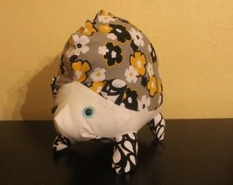 Black,grey and yellow flowered stuffed hedgehog/ plushie
