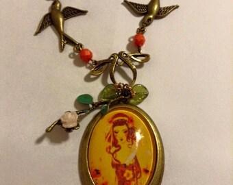 "Cameo necklace ""Autumn"""