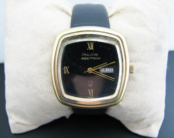 Handsome 1975 Men's Bulova Accutron Watch in Gold Tone with Day & Date