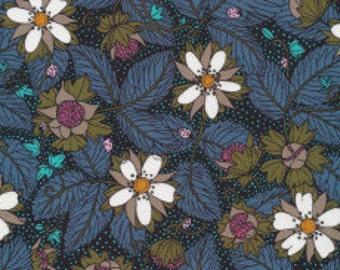 Garden Secret Fabric by the Yard, Cloud 9 Fabrics, Organic Cotton Fabric, Sarah Watson, Blue Floral Quilt Fabric, 142050