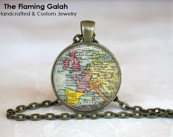 EUROPE Map Pendant • EU Map • Continental Europe Map • Vintage Europe Map • Gift Under 20 • Made in Australia (P1196)