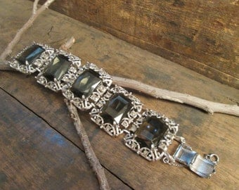 vintage sarah coventry ornate faux smoky topaz bracelet with chain