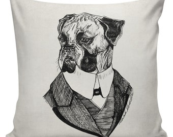 SHIPS TODAY! Dog Pillow Cover Anthropomorphism Cotton Canvas Throw Pillow 18 inch square  #UE0342