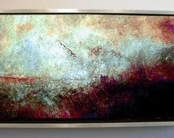 Abstract Landscape Alizarin & Turquioise Sky Original Large Abstract Landscape Oil Painting Stuart Caress Wall Decor
