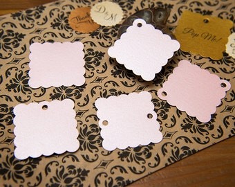 "Baby Pink Pearlised 1.5"" Square Luxury Gift Tags, Blank Tags, Wishing Tree Tags, Wedding favour tags, Jewellery Tags, wedding favor 1.5 inch"