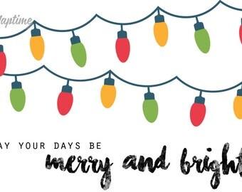 Merry and Bright 5x7 Christmas Print, Printable Holiday Decor, Digital Download