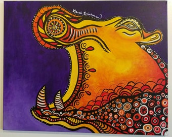 Abstract hippo painting