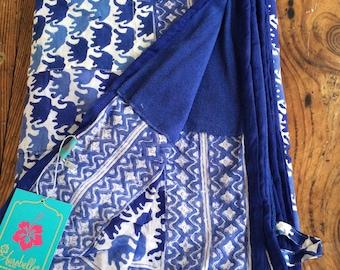 Big ibiza Beach towel with block print pareo / pocket / fringes / hang up loop / light weight towel
