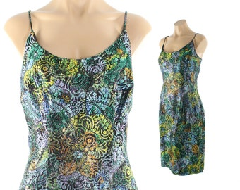 Vintage 60s Lurex Party Dress Sleeveless Wiggle Blue Green Metallic Low Back 1960s Pinup Rockabilly Large L