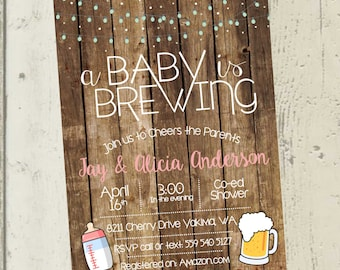 A Baby is Brewing Invitation, Beer Baby Shower Invitation, Beer Baby Shower, co ed baby shower invitation, co ed baby shower invite, beer