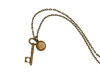 Shimmery Charm with Antique Bronze Key Necklace.  Small Key