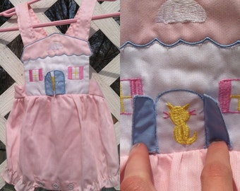 ON SALE! Vintage Mayfair Cute Pink Newborn Baby Girl's Overalls House with Peekaboo Cat