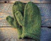 Knit mittens - olive green - wool mittens - hand knitted mittens- warm mittens - Womens mittens - Womens wool mittens - warm wool